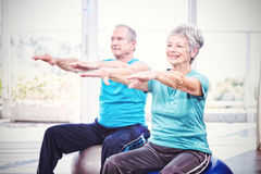 Happy senior couple performing exercise Stock Image