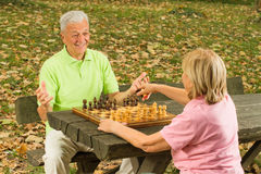 Happy senior couple playing chess Stock Image