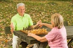 Happy senior couple playing chess stock image