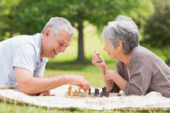 Happy senior couple playing chess at the park royalty free stock photo