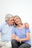 Happy senior couple portrait. Portrait of happy smiling senior couple embracing at home Royalty Free Stock Images