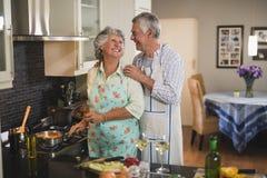 Happy senior couple preparing food in kitchen Royalty Free Stock Photo