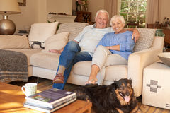 Happy senior couple relaxing at home with their dog Stock Photo