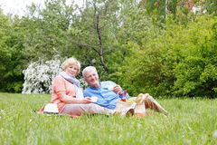 Happy senior couple relaxing outdoor Stock Photography