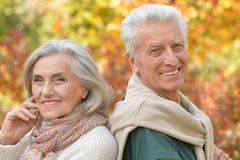 Portrait of a senior couple in autumnal park. Happy senior couple resting in autumnal park stock images