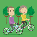 Happy senior couple riding on bicycles in the park Stock Image