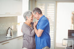 Happy senior couple romancing in kitchen. At home Royalty Free Stock Photo