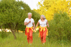 Happy senior couple running. Beautiful happy senior couple running  in summer park Stock Photo
