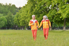 Happy senior couple running. Beautiful happy senior couple running  in summer park Royalty Free Stock Photo