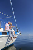 Happy Senior Couple Sailing Yacht or Sail Boat Royalty Free Stock Image