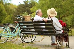 Happy senior couple sitting on bench royalty free stock photo