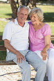 Happy Senior Couple Sitting on Bench in Sunshine Stock Images
