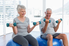 Happy senior couple sitting on fitness balls with dumbbells Stock Photos