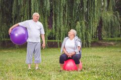Happy senior couple sitting on fitness balls in park Royalty Free Stock Photography
