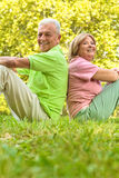 Happy senior couple sitting on grass Royalty Free Stock Photo