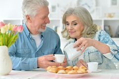 Senior couple drinking tea with cookies. Happy senior couple sitting at kitchen table and drinking tea with cookies Royalty Free Stock Photos