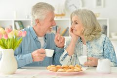 Senior couple drinking tea with cookies. Happy senior couple sitting at kitchen table and drinking tea with cookies Royalty Free Stock Photography