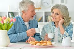 Senior couple drinking tea with cookies. Happy senior couple sitting at kitchen table and drinking tea with cookies Stock Images