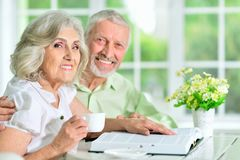 Portrait of happy senior couple sitting at table and reading book stock images