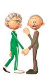 Happy senior couple. Happy smiling senior couple holding hands and waving stock illustration