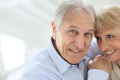 Happy senior couple smiling Stock Photos