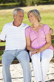 Happy Senior Couple Smiling Outside in Sunshine. Happy senior man and woman couple sitting together outside in sunshine Stock Photos