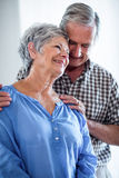 Happy senior couple standing together and smiling Stock Photos