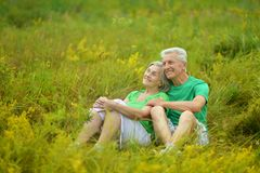 Happy senior couple in summer field Stock Image