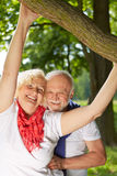 Happy senior couple in summer garden Royalty Free Stock Images