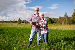 Happy senior couple with tablet pc at summer farm Stock Image