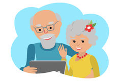 Happy senior couple with tablet. Vector illustration cloud icon Royalty Free Stock Photo
