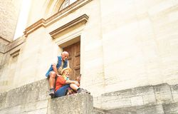 Happy senior couple taking selfie together in San Marino old town stock photo