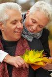 Happy senior couple talking royalty free stock photo