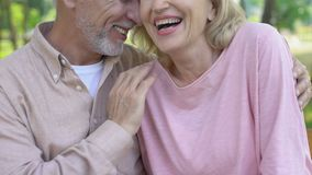 Happy senior couple talking laughing together, secure old age, lightheartedness