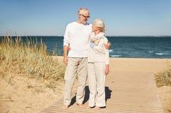 Happy senior couple talking outdoors Royalty Free Stock Image