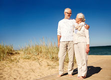 Happy senior couple talking outdoors Royalty Free Stock Photography