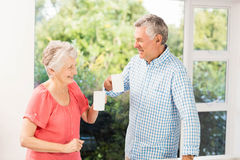 Happy senior couple toasting with cups Stock Image