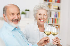 Happy senior couple toasting each other. Happy senior couple sitting close together on a sofa toasting each other with glasses of white wine as they celebrate Stock Image