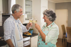 Happy senior couple toasting wineglasses while standing in kitchen Royalty Free Stock Images