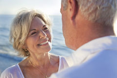 Happy Senior Couple on A Tropical Beach Stock Photo