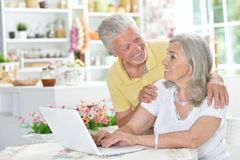 Happy senior couple using  laptop Royalty Free Stock Photos