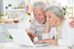Happy senior couple using  laptop Royalty Free Stock Image