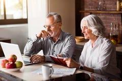 Happy senior couple using laptop at the kitchen stock photo