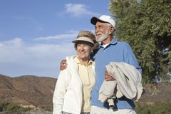 Happy Senior Couple On Vacation Stock Photos