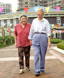 A happy senior couple are walking Royalty Free Stock Image