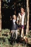 Happy senior couple walking in park stock image