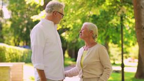 Happy senior couple walking at summer city park stock video footage