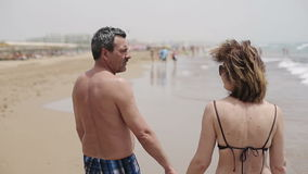 Happy senior couple walking together on a beach.  stock video footage