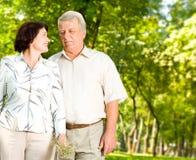 Happy senior couple wallking Royalty Free Stock Photos