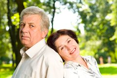 Happy senior couple wallking Royalty Free Stock Image